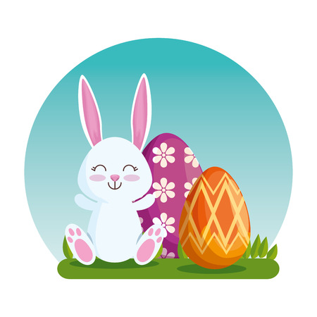 happy rabbit with easter eggs decoration vector illustration