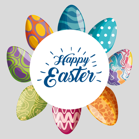happy easter label with eggs decoration vector illustration