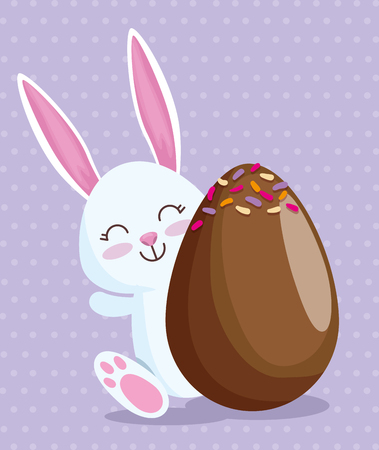 happy rabbit and chocolate egg with candies vector illustration