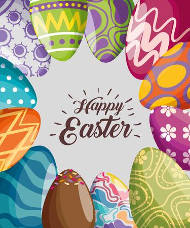 décoration d'oeufs de pâques à l'illustration vectorielle de célébration d'événement
