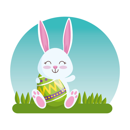 happy rabbit with eggs figures decoration vector illustration
