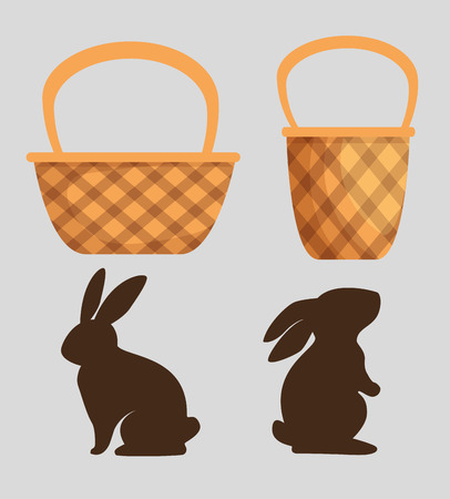 set cute rabbit with wood basket design vector illustration