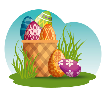 easter eggs decoration in the basket to event vector illustration