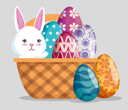 rabbit with eggs decoration in the basket to event vector illustration