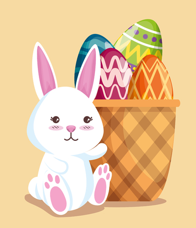 happy rabbit with eggs decoration in the basket vector illustration Ilustrace