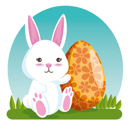happy rabbit and egg with flowers decoration vector illustration Archivio Fotografico - 125837349