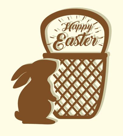rabbit with basket label to happy easter vector illustration Archivio Fotografico - 125837351