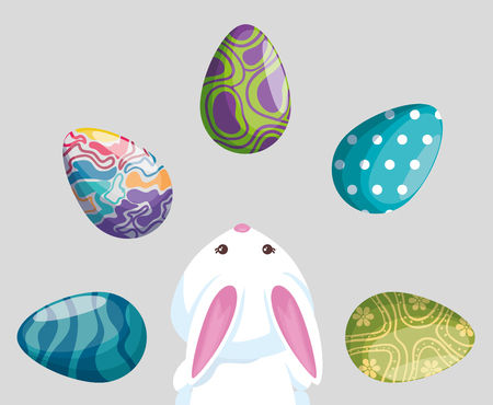 easter eggs decoration with rabbit to event vector illustration Ilustrace