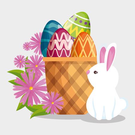 happy rabbit and easter egg inside basket vector illustration