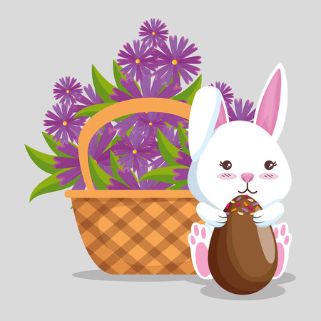 rabbit with chocolate eggs and flowers inside basket vector illustration Ilustrace