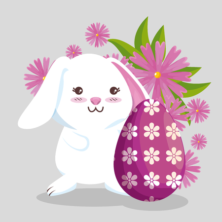 happy rabbit and egg decoration with flowers vector illustration