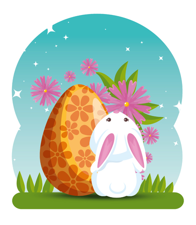 rabbit and egg decoration with flowers and leaves vector illustration