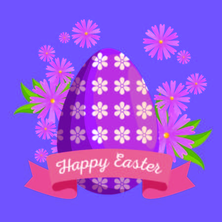 easter egg decoration with flowers and leaves vector illustration Archivio Fotografico - 125837368