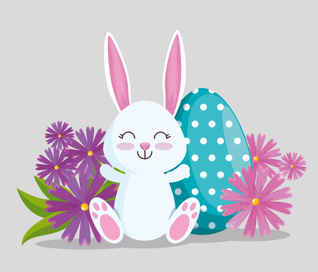 happy rabbit with egg poins decoration vector illustration Archivio Fotografico - 125837370