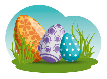 eggs decoration with flowers and figures in the grass vector illustration Archivio Fotografico - 125837372