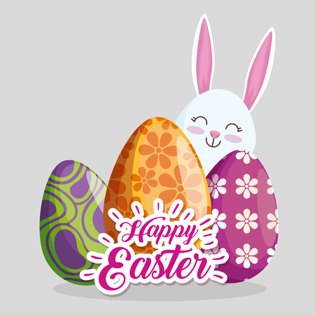easter eggs decoration with happy rabbit vector illustration