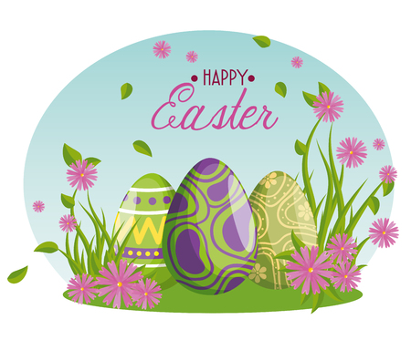 easter eggs with figures decoration and flowers vector illustration