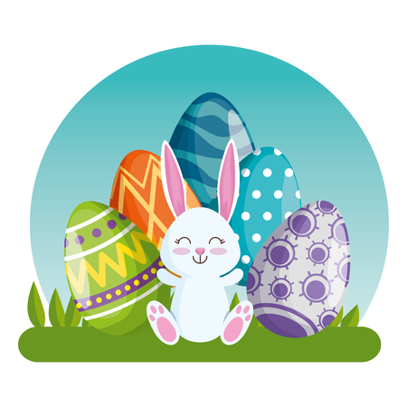 happy rabbit with easter eggs with figures decoration vector illustration Archivio Fotografico - 125837383