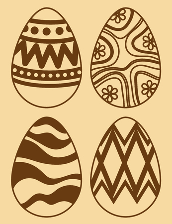 set easter eggs with figures decoration to event vector illustration Archivio Fotografico - 116015183