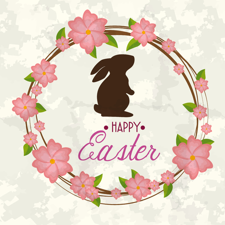 rabbit with flowers plants to happy easter vector illustration Illustration