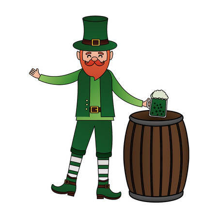 leprechaun with beer and barrel st patricks day vector illustration