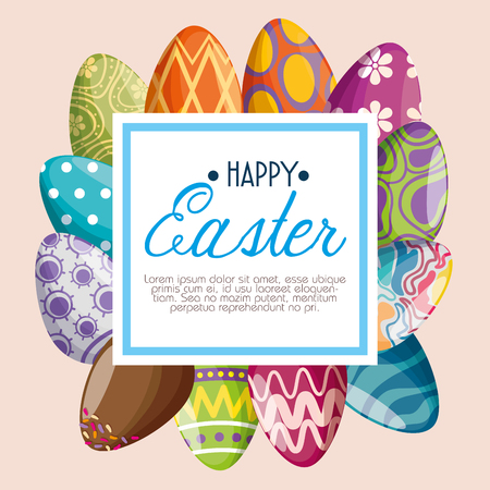 eggs decoration with emblem message to easter event vector illustration Archivio Fotografico - 125837405