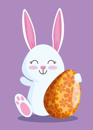 happy rabbit with egg decoration to easter event vector illustration