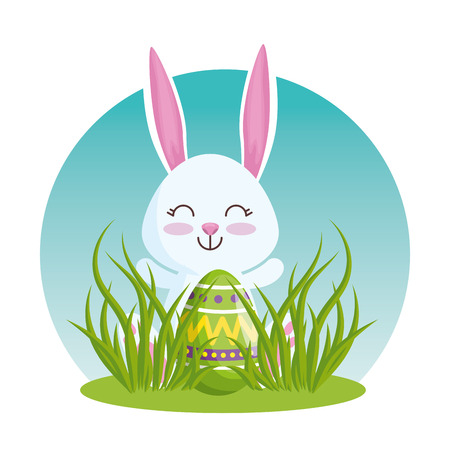 happy rabbit with easter egg in the grass vector illustration