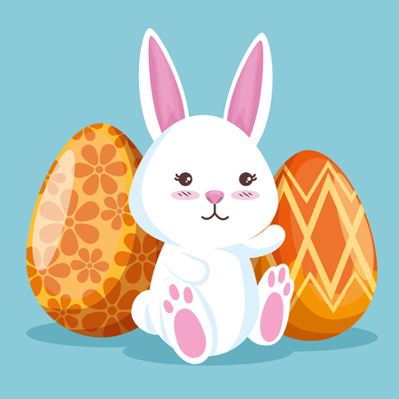 rabbit and easter eggs decoration to event vector illutration Ilustração