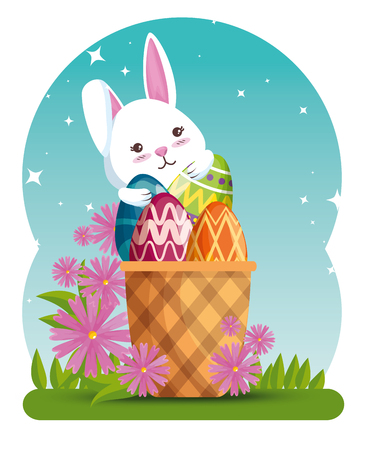 rabbit with eggs decoration in the basket and flowers vector illustration Ilustração