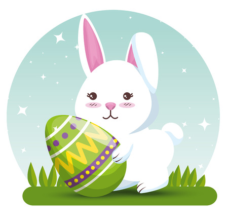 rabbit with easter egg decoration to event vector illustration