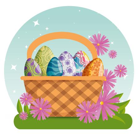 easter eggs with figures decoration inside basket vector illustration