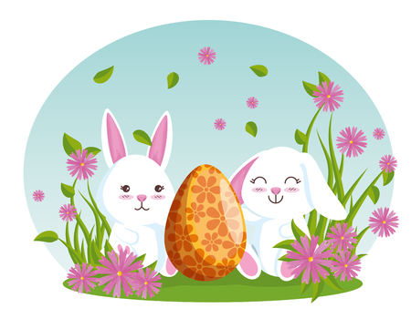 rabbits with eater egg and flowers plants vector illustration