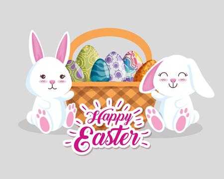 happy rabbits with eggs decoration inside basket vector illustration
