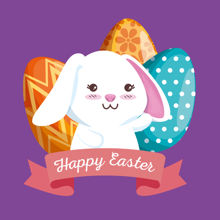 rabbit with easter eggs decoration and ribbon vector illustration Archivio Fotografico - 116015930