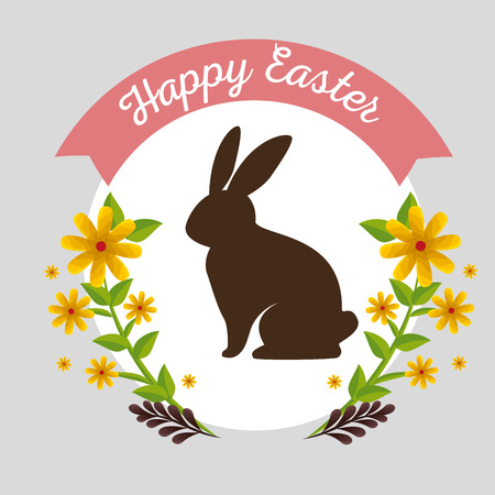 rabbit with flowers plants and branches leaves vector illustration Archivio Fotografico - 125837427
