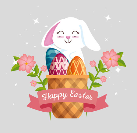 rabbit with eggs decoration inside basket and flowers vector illustration