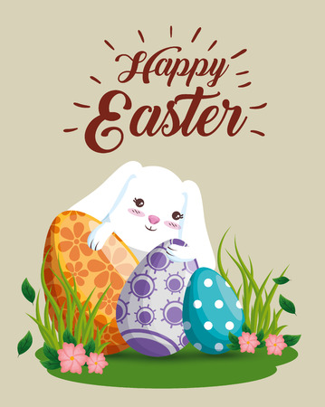 happy rabbit with eggs decoration and flowers vector illustration Ilustração