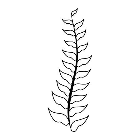 green branch leaves on white background vector illustration Иллюстрация