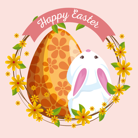 cute rabbit with egg decoration and flowers vector illustration