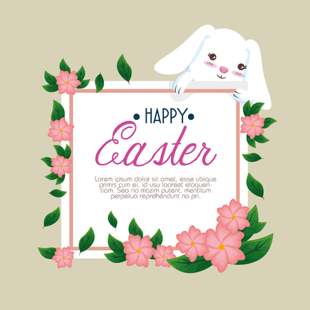 rabbit with happy easter card and flowers vector illustration