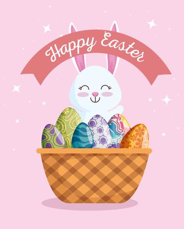 rabbit with eggs decoration inside basket and ribbon vector illustration Archivio Fotografico - 125837442