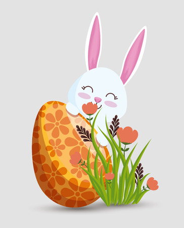 happy rabbit with egg decoration and flowers vector illustration