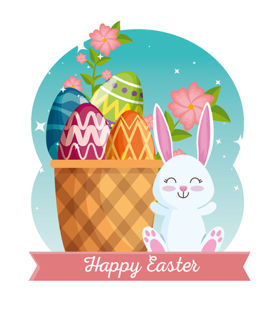 happy rabbit with flowers and eggs decoration inside basket vector illustration
