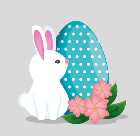 cute rabbit with egg points decoration and flowers vector illustration Archivio Fotografico - 115987197