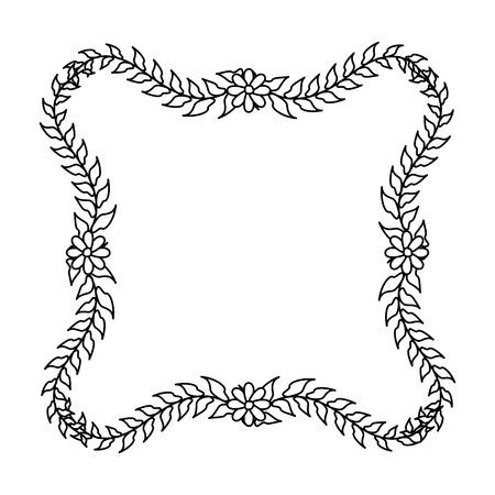 frame floral flowers leaves on white background vector illustration