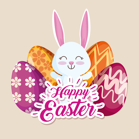 happy rabbit and easter eggs with figures decoration vector illustration