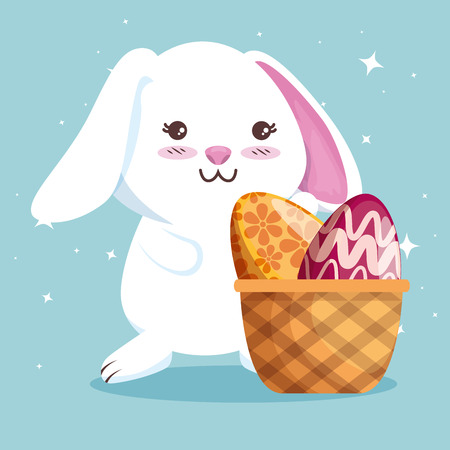 rabbit and easter eggs decoration inside basket vector illustration Archivio Fotografico - 125837455