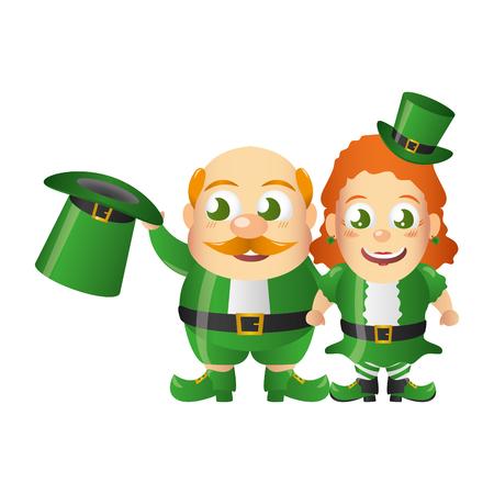 leprechaun and girl characters st patricks day vector illustration Standard-Bild - 125837457