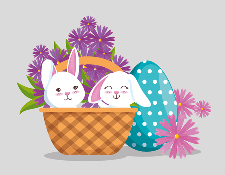 rabbits inside basket with egg decoration and flowers vector illustration